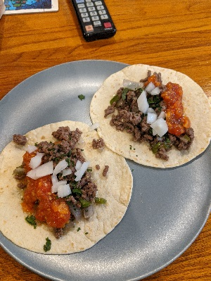 Ground beef steak tacos with habanero salsa